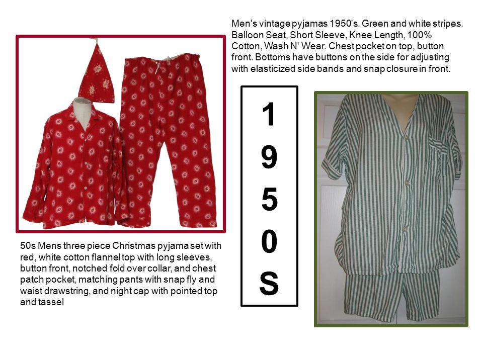 Men s vintage pyjamas 1950 s. Green and white stripes
