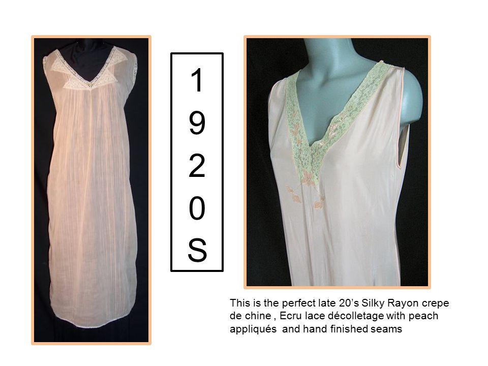 1920S This is the perfect late 20's Silky Rayon crepe de chine , Ecru lace décolletage with peach appliqués and hand finished seams.