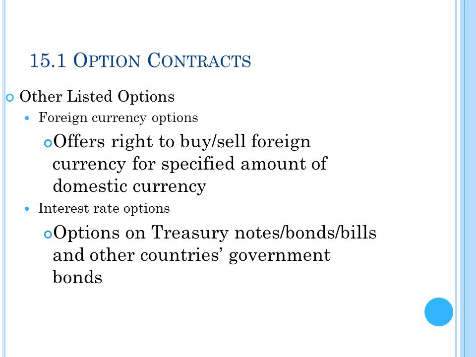 15.1 Option Contracts Other Listed Options. Foreign currency options.