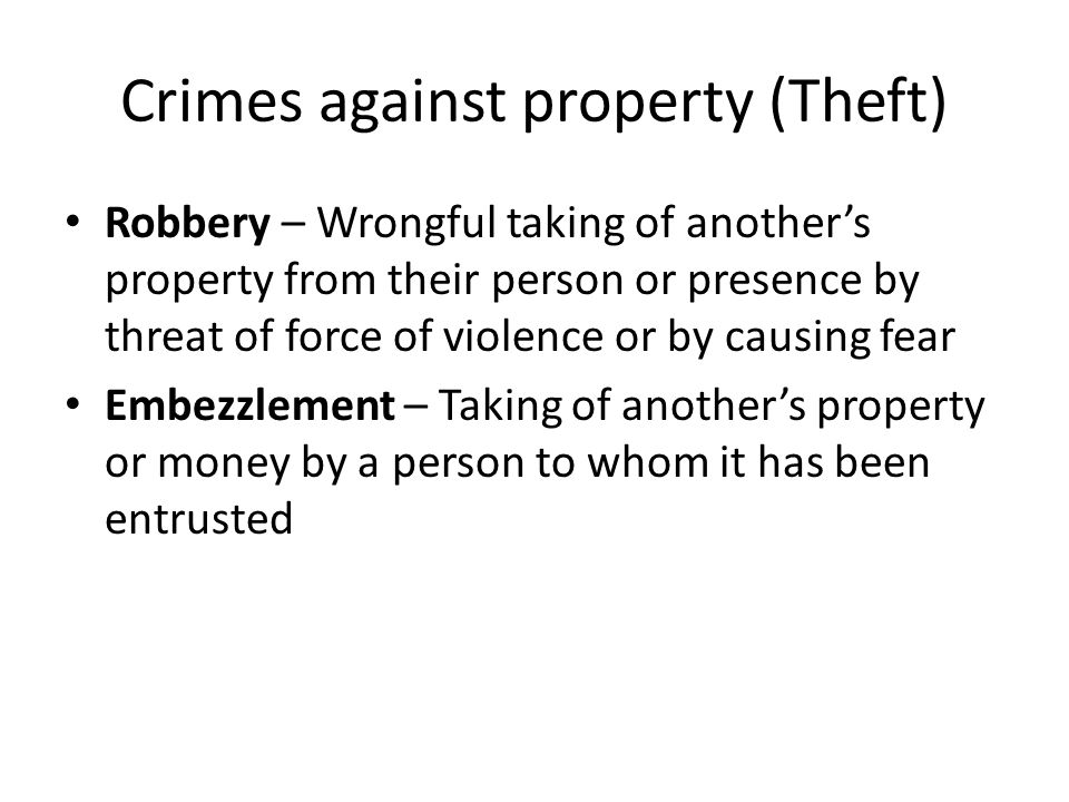 Crimes against property (Theft)