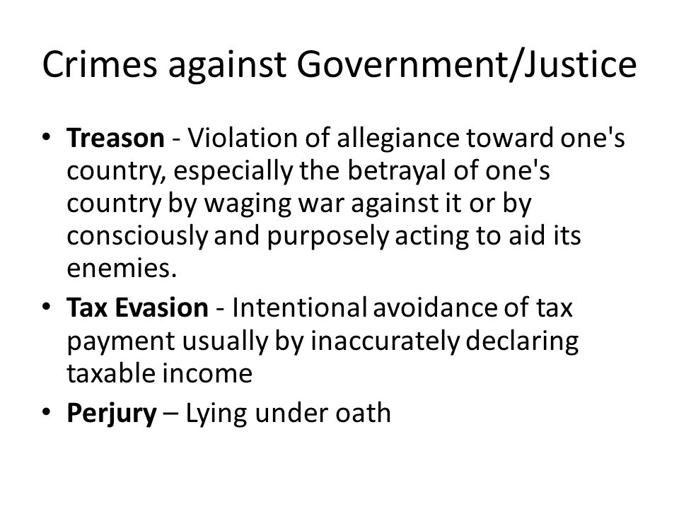 Crimes against Government/Justice