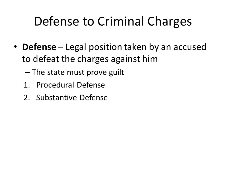 Defense to Criminal Charges