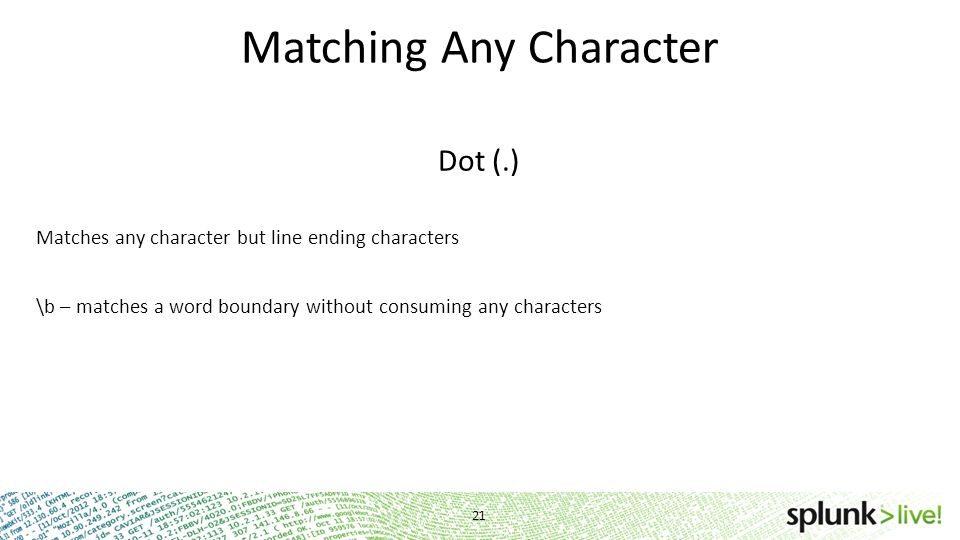 Matching Any Character