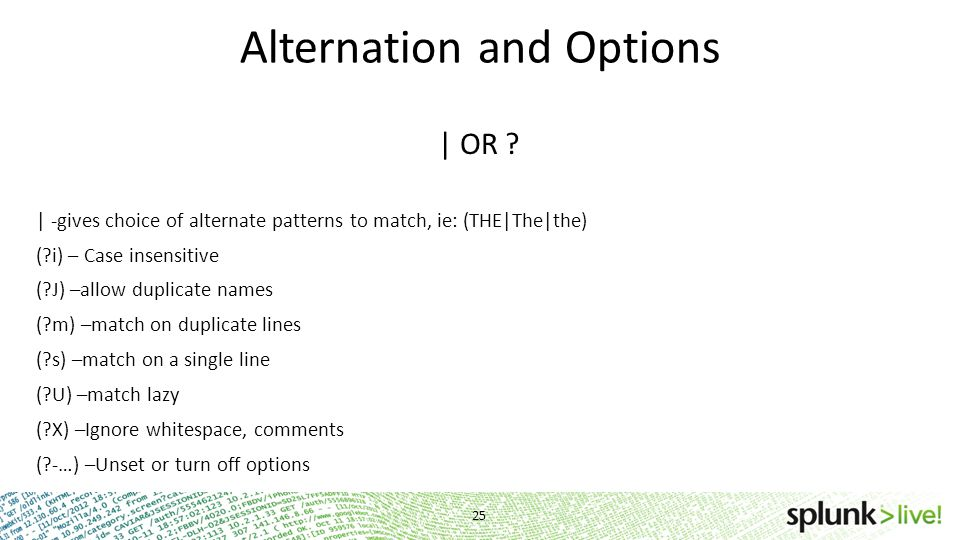 Alternation and Options