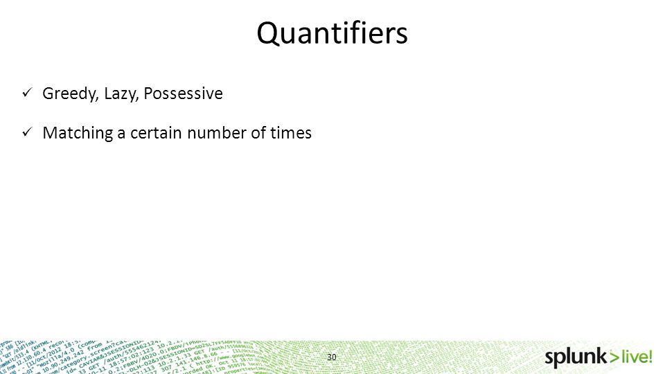 Quantifiers Greedy, Lazy, Possessive