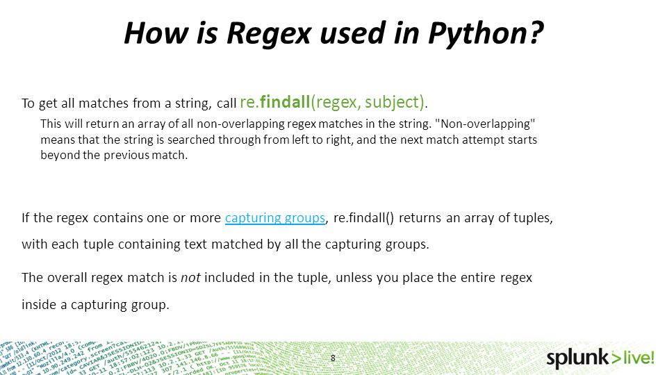 How is Regex used in Python
