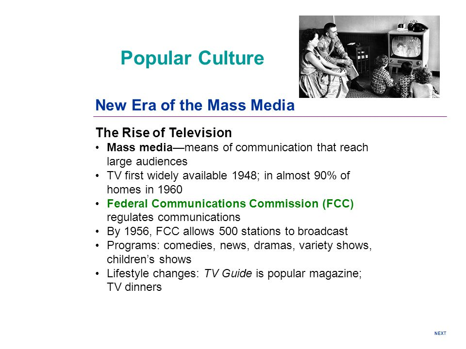 Popular Culture New Era of the Mass Media The Rise of Television