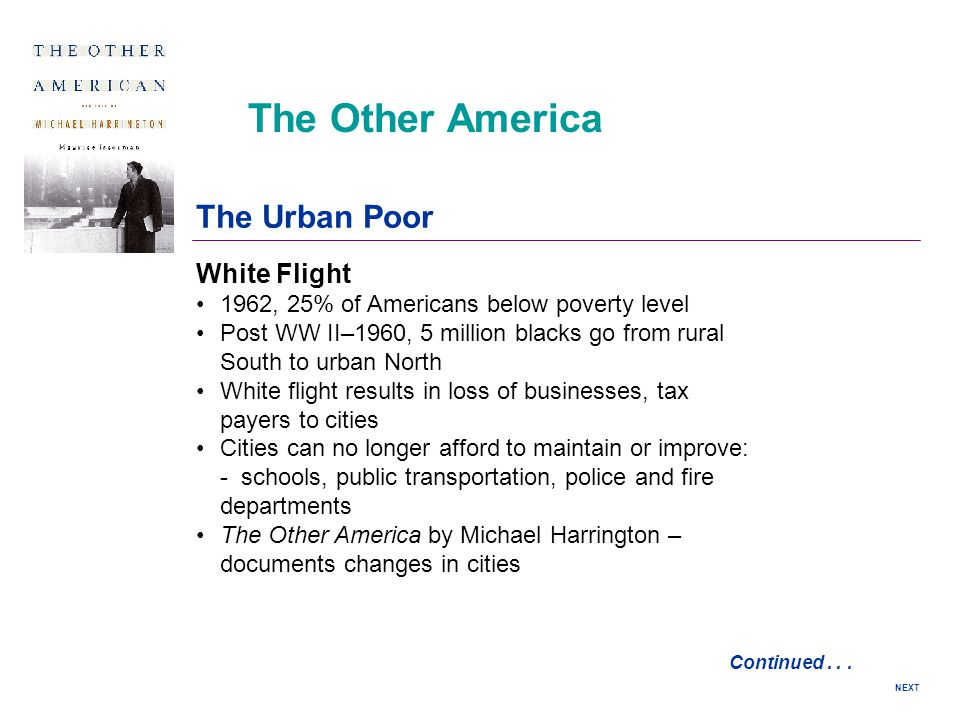 The Other America The Urban Poor White Flight