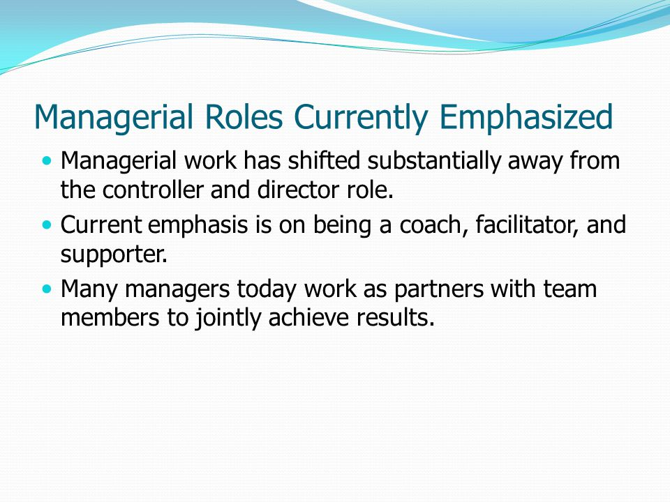 Managerial Roles Currently Emphasized