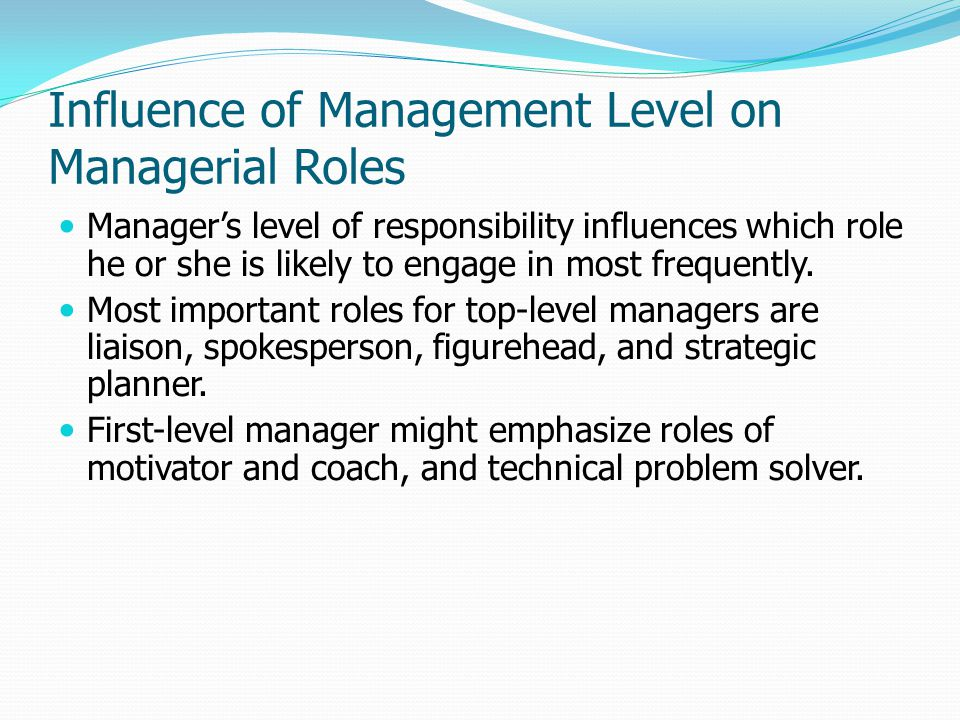 Influence of Management Level on Managerial Roles