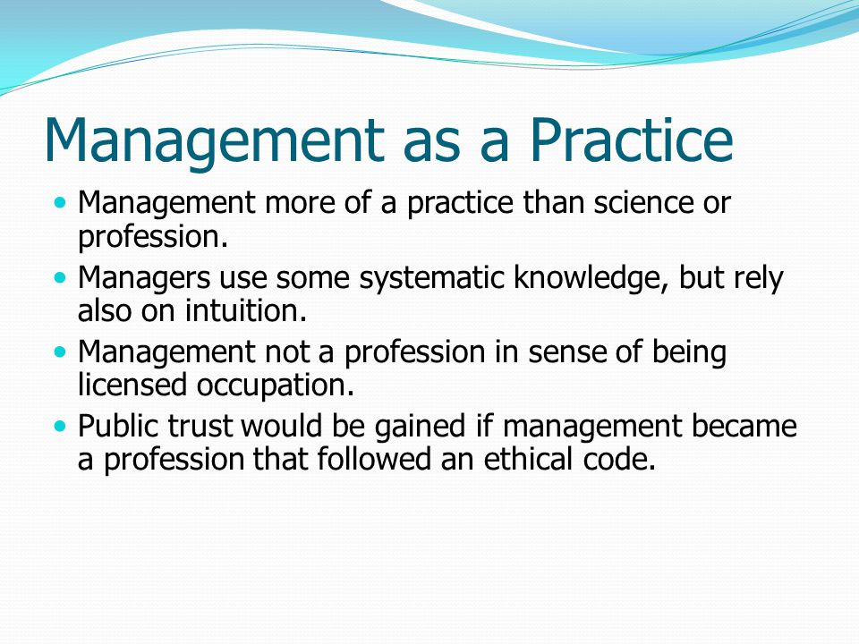 Management as a Practice