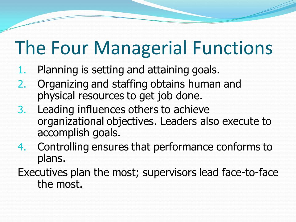The Four Managerial Functions