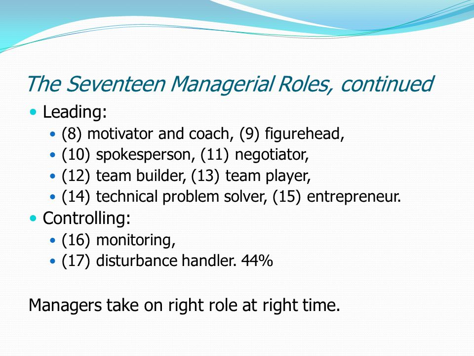 The Seventeen Managerial Roles, continued