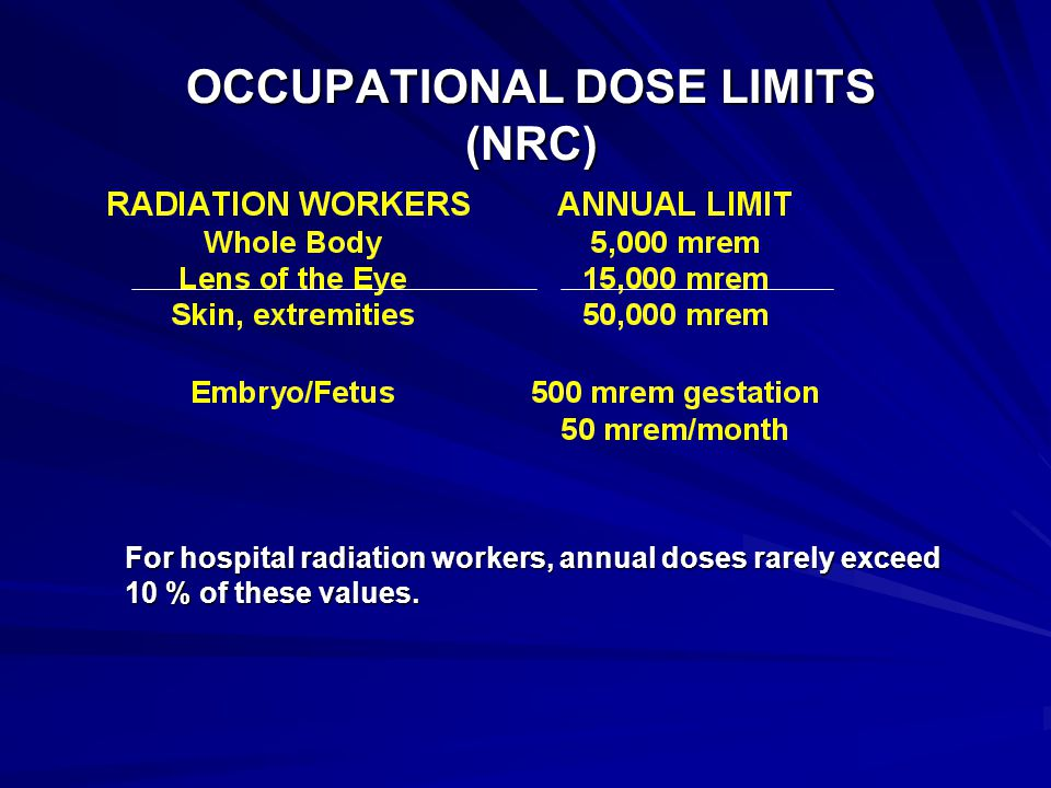 OCCUPATIONAL DOSE LIMITS (NRC)