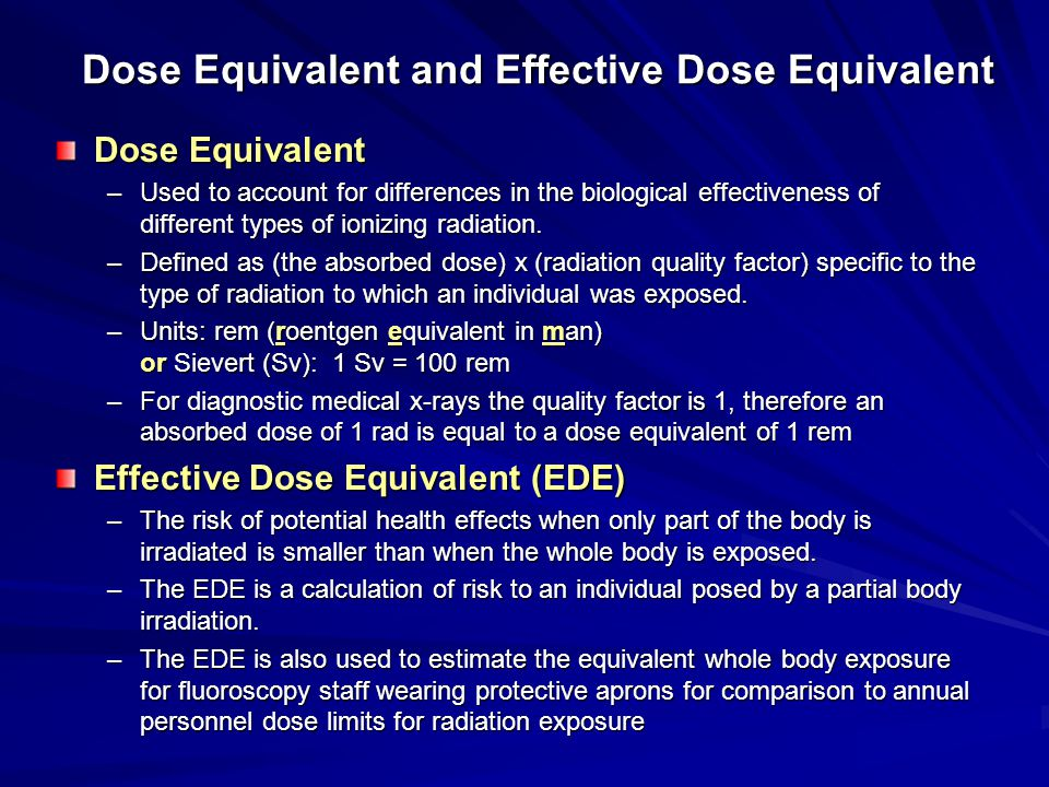 Dose Equivalent and Effective Dose Equivalent