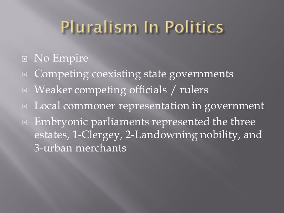 Pluralism In Politics No Empire Competing coexisting state governments