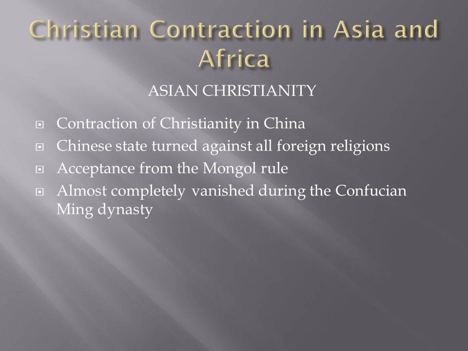 Christian Contraction in Asia and Africa