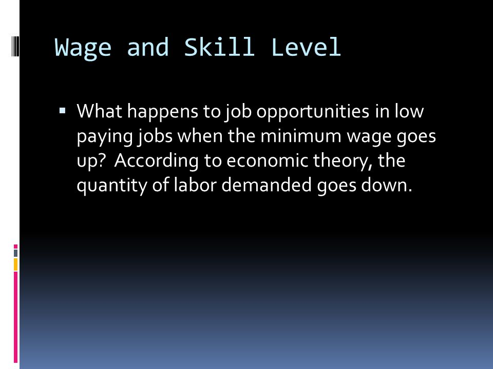 Wage and Skill Level