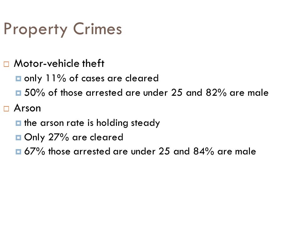 Property Crimes Motor-vehicle theft Arson