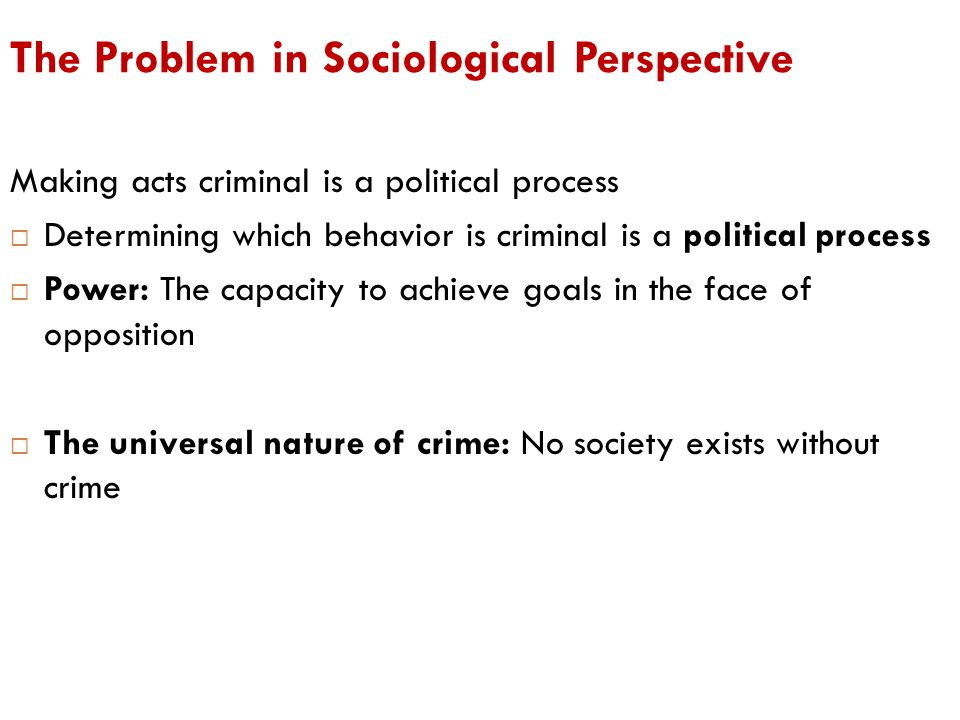 The Problem in Sociological Perspective