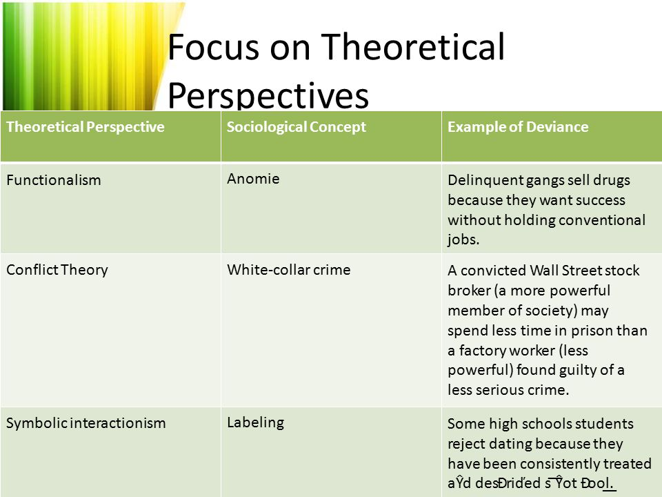Focus on Theoretical Perspectives Theoretical Perspective