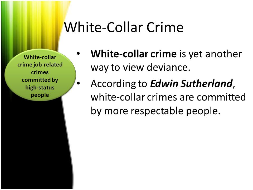 White-collar crime job-related crimes committed by high-status people
