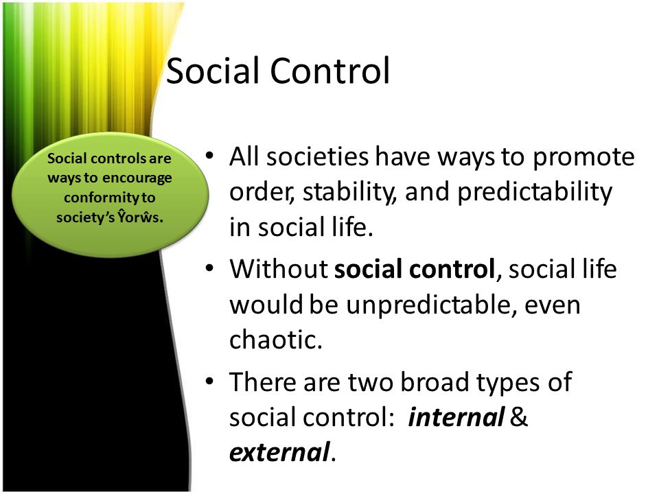 Social controls are ways to encourage conformity to society's Ŷorŵs.