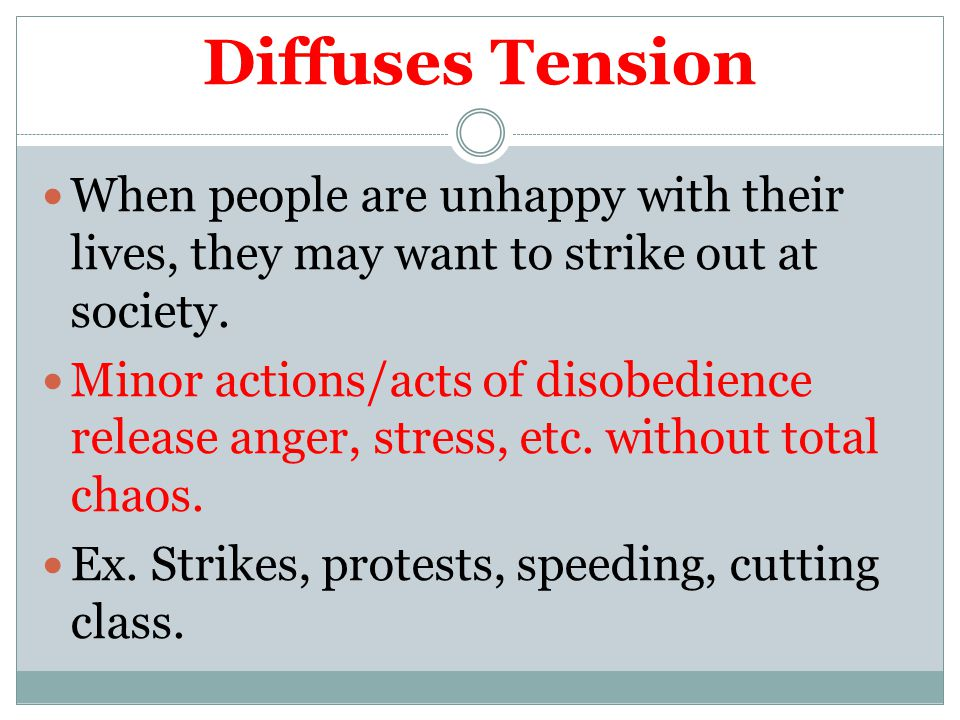 Diffuses Tension When people are unhappy with their lives, they may want to strike out at society.