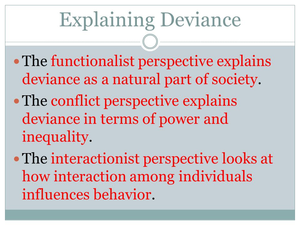Explaining Deviance The functionalist perspective explains deviance as a natural part of society.