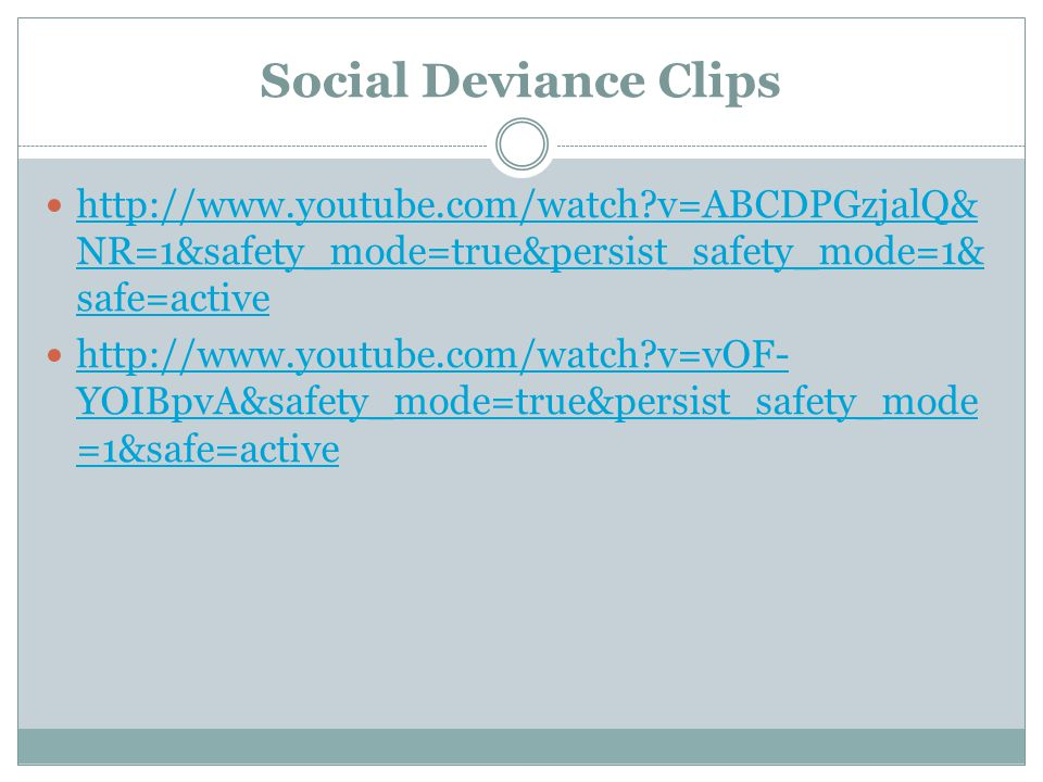 Social Deviance Clips http://www.youtube.com/watch v=ABCDPGzjalQ&NR=1&safety_mode=true&persist_safety_mode=1&safe=active.