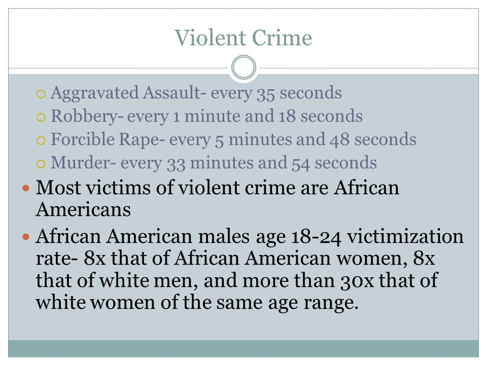 Violent Crime Most victims of violent crime are African Americans