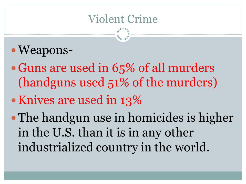 Guns are used in 65% of all murders (handguns used 51% of the murders)
