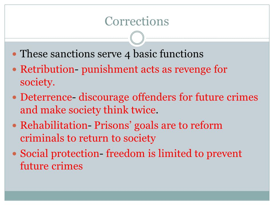 Corrections These sanctions serve 4 basic functions