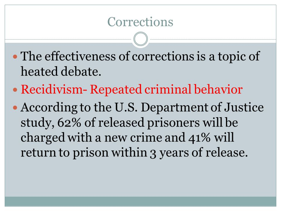 Corrections The effectiveness of corrections is a topic of heated debate. Recidivism- Repeated criminal behavior.