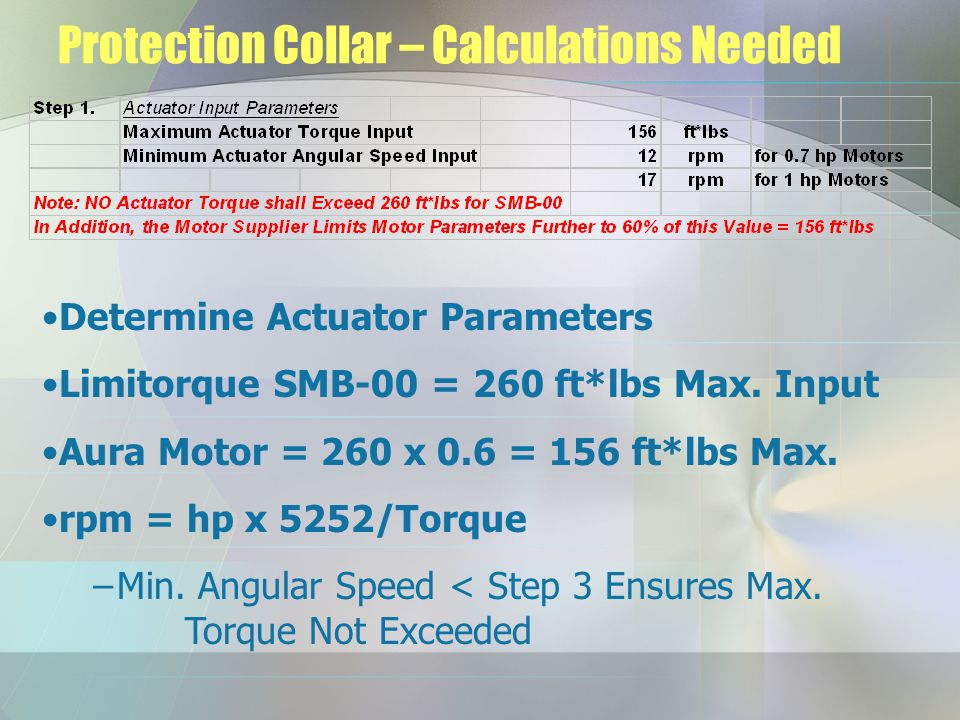 Protection Collar – Calculations Needed