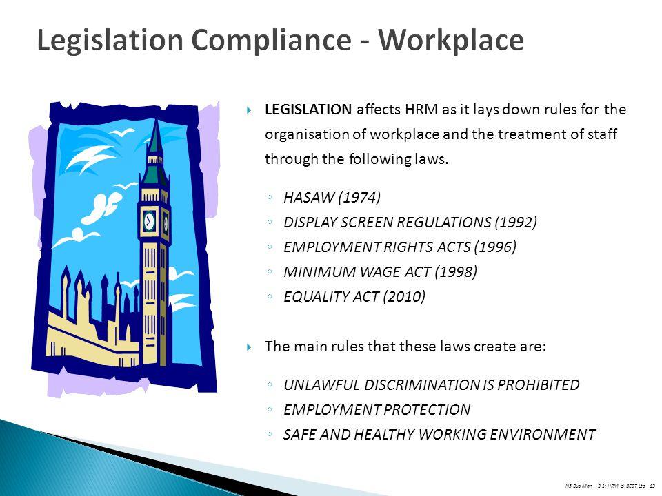 Legislation Compliance - Workplace