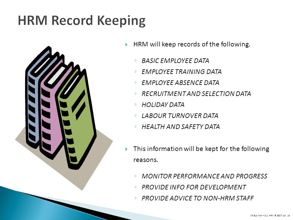 HRM Record Keeping HRM will keep records of the following.
