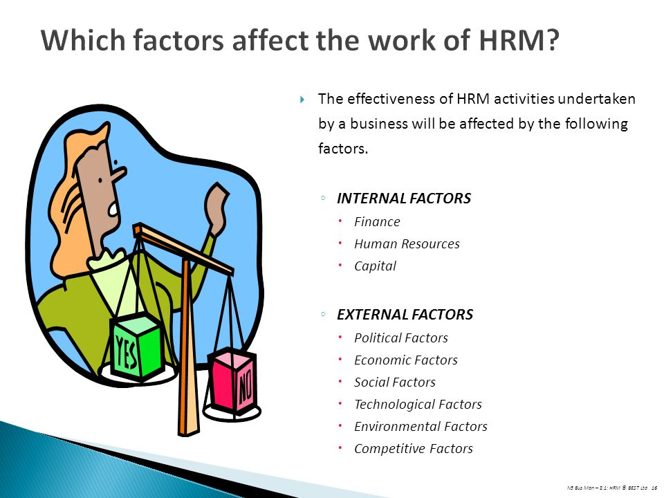 Which factors affect the work of HRM