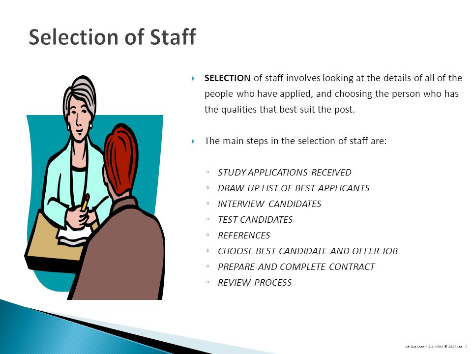 Selection of Staff