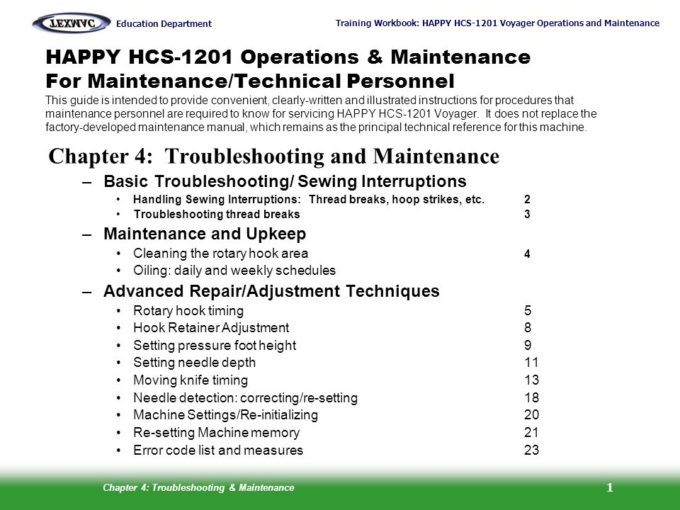 Chapter 4: Troubleshooting and Maintenance