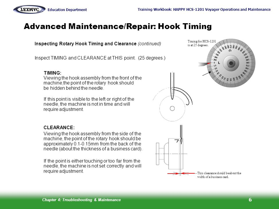 Advanced Maintenance/Repair: Hook Timing
