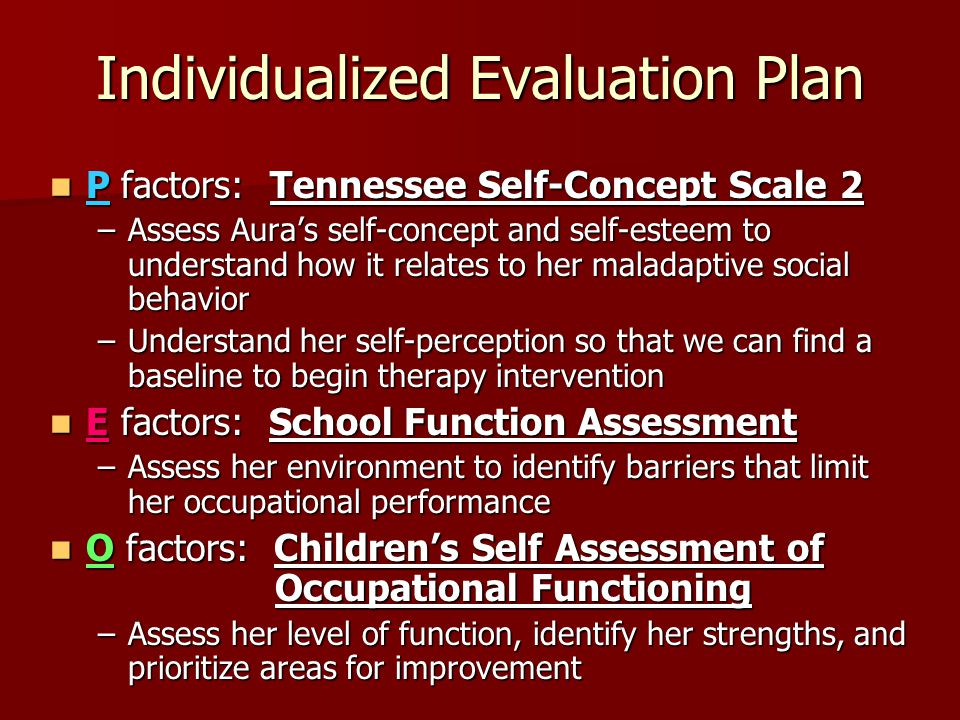 Individualized Evaluation Plan