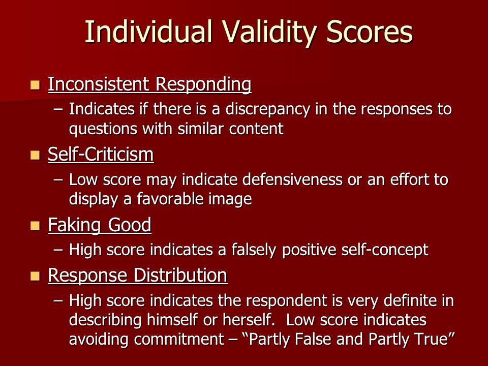 Individual Validity Scores