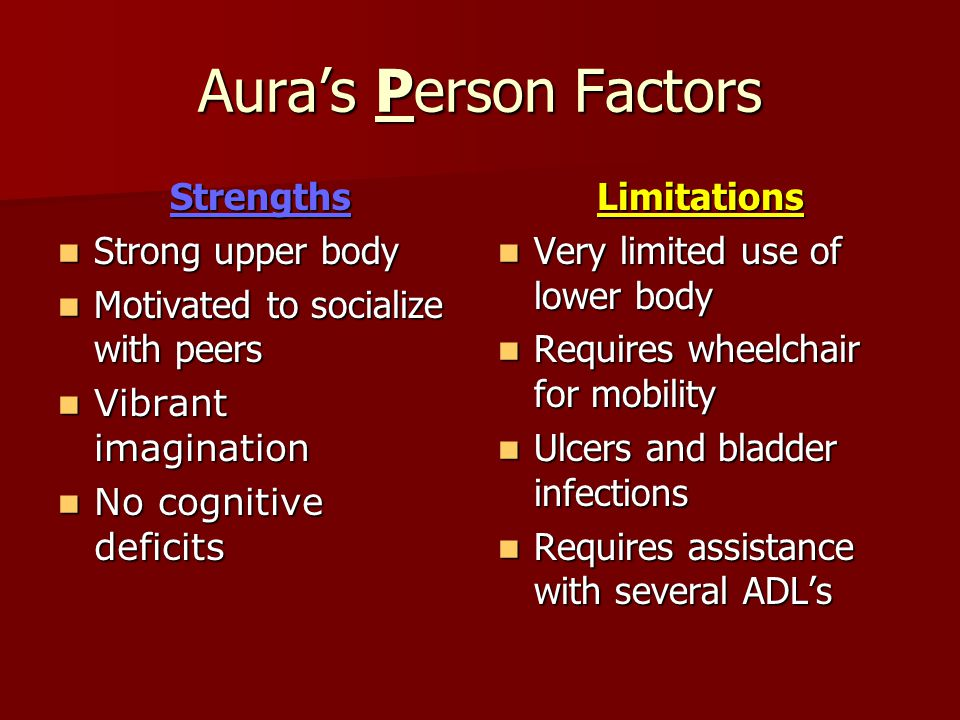 Aura's Person Factors Strengths Strong upper body