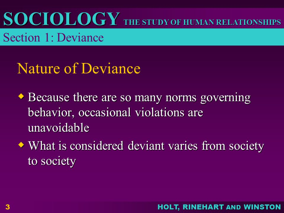 Nature of Deviance Section 1: Deviance