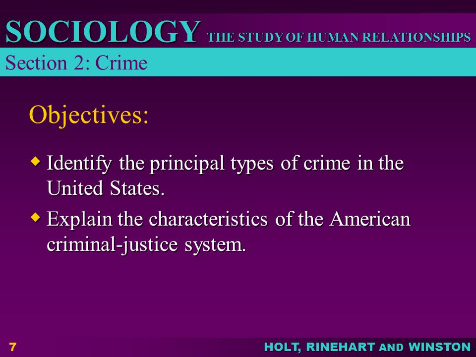 Objectives: Section 2: Crime