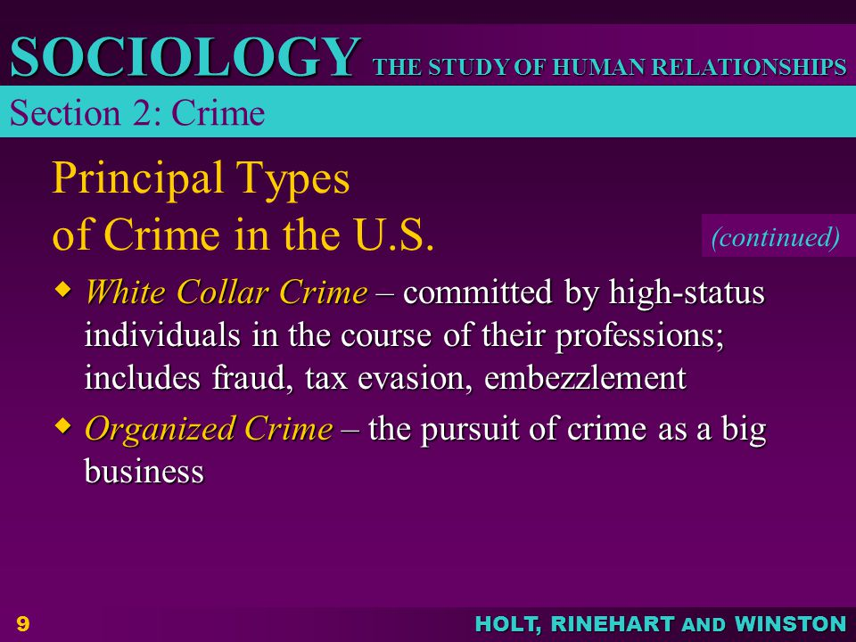 Principal Types of Crime in the U.S.