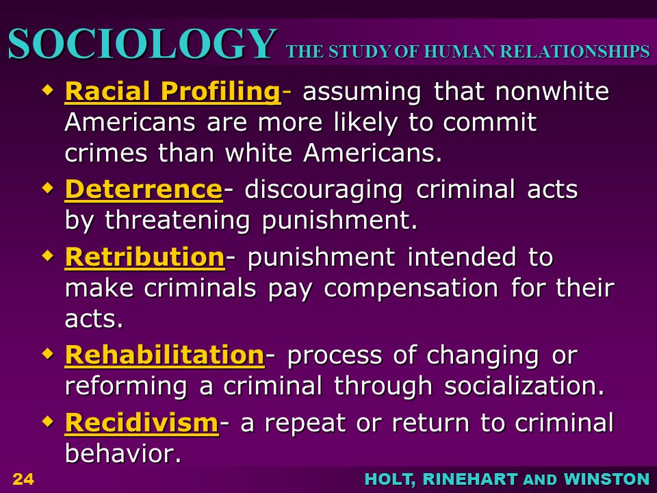 Racial Profiling- assuming that nonwhite Americans are more likely to commit crimes than white Americans.