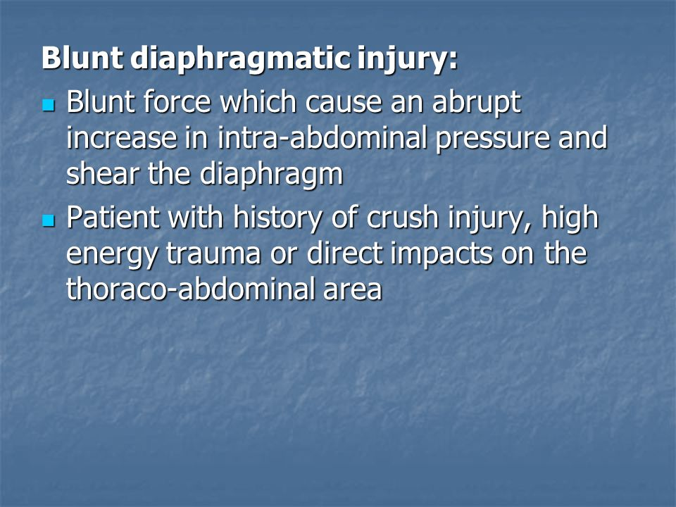 Blunt diaphragmatic injury: