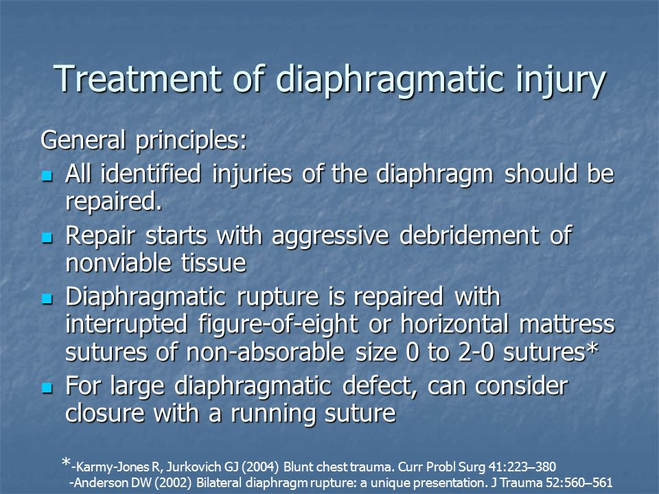 Treatment of diaphragmatic injury